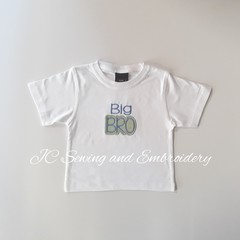 Big Bro White T-shirt with green & white checked applique