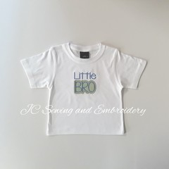 Little Bro White T-shirt with green & white checked applique