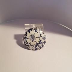 Blue and White Floral Enamel Pendant