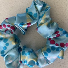 Elastic hair  scrunchie hair tie blue multicolour