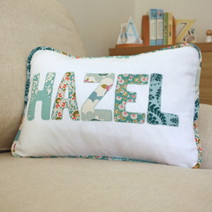 Personalised Name Cushion in Art Nouveau Teal Florals