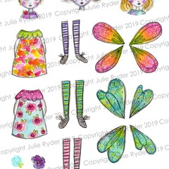 Printable Digital Download Image Mix and Match Fairy Doll Set 1  paper crafting