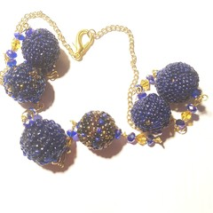 Royal blue beaded beads with swarovski crystal necklace and gold chain