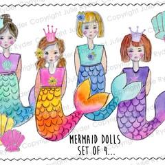 Set of 4 Mermaid Dolls - printable digital download scrapbooking