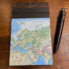 Japanese Stab Bound, World Map, A6 Top-fold Sketchbook/Journal