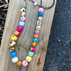 """Hand-painted """"TINA SPARKLE"""" Limited Edition Wooden Necklace"""