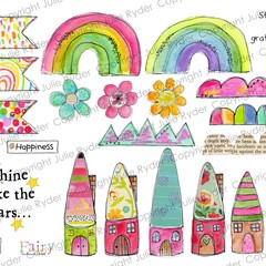 Printable Whimsical Fairy Fun Elements and Words Digital Download Rainbows Fairy