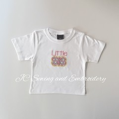 Little Sis White T-shirt with grey & white dotted applique