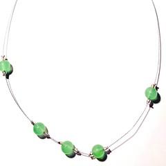 Necklace. Beaded. Beautiful, elegant, minimalist, delicate green stone bead
