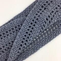 Ladies Crochet Twisted Infinity Scarf   Wool & Bamboo   Grey   Gift Idea