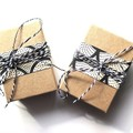 Leaf black + white polymer clay earrings - mid with rose gold