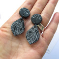 Leaf black + white polymer clay earrings - mid with black