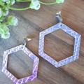 VEGAN, Studded Hexagon , Faux Leather Earrings, Silver Hologram Snakeskin