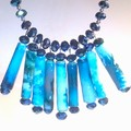 Handmade Paper bead necklace with  in blue For women with Swarovski crystals