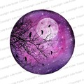 Instant Download Watercolour Print Purples with Tree Branch, Birds, dragonflies