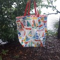 YACHTS/CORAL RED AND WHITE/ XL REVERSIBLE TOTE/BEACH BAG/OUTDOOR FABRIC