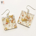 Large Square Eco Resin Drop Earrings |   FREE SHIPPING