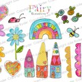 Printable Fairy Elements Digital Download Rainbow Hearts Little Houses Butterfly