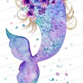 Printable Mermaid Tail, Instant Download, Purple, Mauve, Blue, Watercolour Print