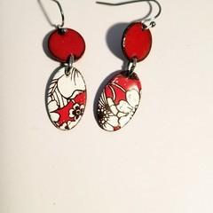 Small Red Dangle Enamel Earrings
