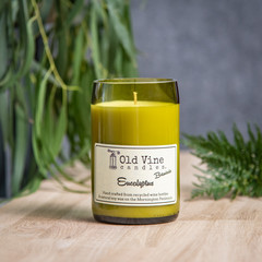 """""""Eucalyptus"""" Soy Wax Candle In Recycled Wine Bottle"""