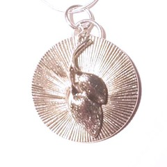 Necklace. Art Deco pendant , silver with dual leafl charm and silver snake chain