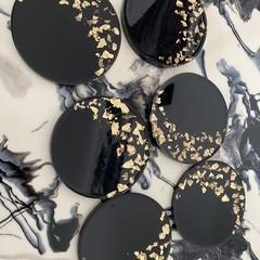 Handmade Resin Coasters SET - black and gold