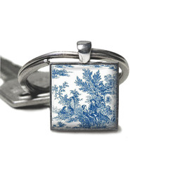 Blue french toile keyring, add your charms