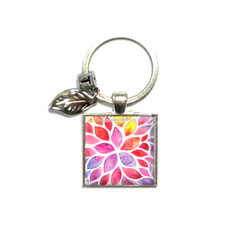 Watercolour floral keyring, photo keyring, add your charms