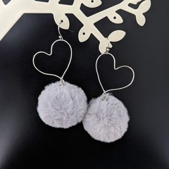 Silver Plated Fluffy Love Heart Drop Earrings