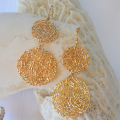 Gold double circle wire Earrings