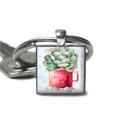 Cactus keyring, add your charms