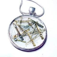 Steampunk  necklace pendant, Unisex using vintage watch parts