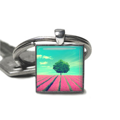 Lavender field keyring, photo keyring, add your charms