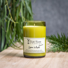 """""""Lemon Myrtle"""" Soy Wax Candle In Recycled Wine Bottle"""