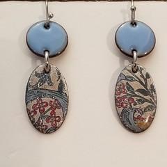 Small Blue Dangle Enamel Earrings
