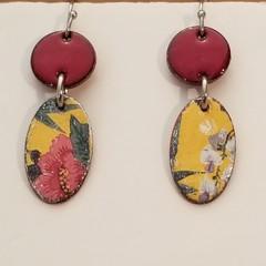 Small Yellow Dangle Enamel Earrings