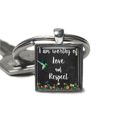 Inspirational quote keyring, photo keyring, add your charms