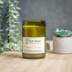 """""""Cabernet Sauvignon"""" Soy Wax Candle In Recycled Wine Bottle"""