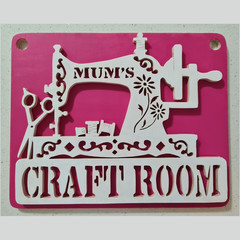 """Mum's Craft Room"" Wooden Hanging Door/Wall Sign"