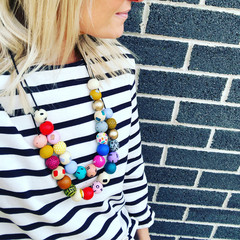 """Hand-painted """"Fruit Tingle"""" and """"Whizz Fizz""""  Wooden Necklace!"""
