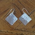 Recycled Silver 'hammered' Square Earrings