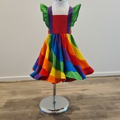 Rainbow swirly dress - bib style bodice
