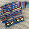 Blue 'Sheep'Cardigan - Size 1-2 years- Hand knitted