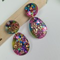 Galactic  Rainbow Sparkle Cicle Top Oval Dangle Earrings  - Glitter  - Stud