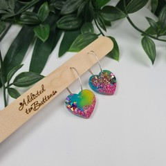 Galactic Rainbow Beating Heart - Glitter Hoop Dangle earrings