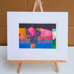 """Geometric Night Scape"" original acrylic collage"