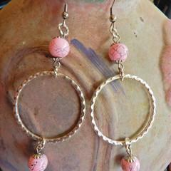 Pink Bead Hoop Earrings