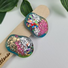 Galactic Rainbow Pebble Glitter Resin Button Stud Earrings - Large