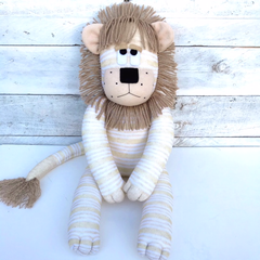 'Lambert' the Sock Lion - beige, cream and gold stripes - *MADE TO ORDER*
